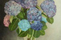 Hortensias bleus dans un vase