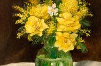 Roses jaunes dans un vase
